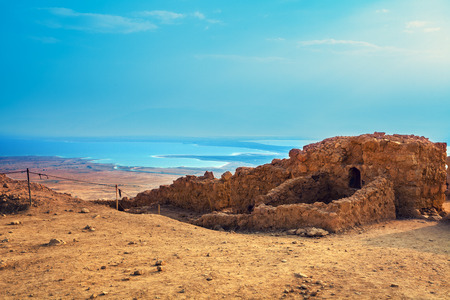 View of the Judean Desert from Mount Yair, Ein Gedi. Israel. Ruins of the Masada fortress
