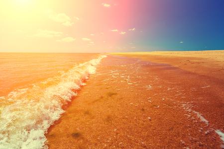 Tropic sea shore. Deserted beach. Marine landscape with ocean and blue sky.