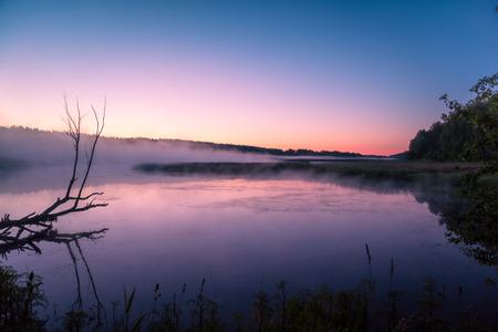 crick: Magical sunrise over lake. Misty morning, rural landscape, wilderness, mystical feeling