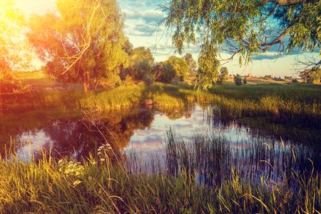 crick: Magical sunrise over the lake. Misty morning, rural landscape, wilderness, mystical feeling Stock Photo