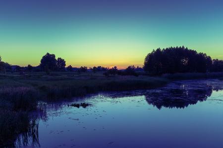 crick: Magical sunrise over the river. Misty morning, rural landscape, wilderness, mystical feeling