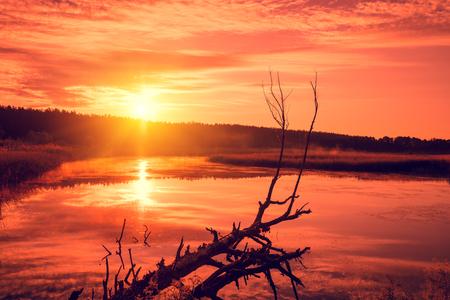riverbank: Orange sunset over the lake. Misty evening, rural landscape, wilderness, mystical feeling