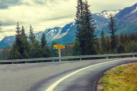 curve road: Turn on the mountain road in Norway. The beautiful nature of Norway