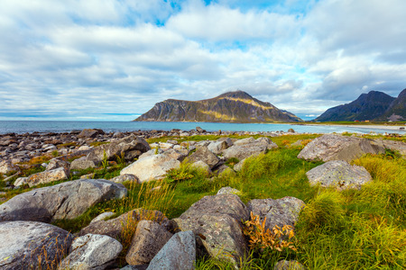 Beautiful wilderness, rocky beach, view of the fjord. Lofoten islands, Norway. Stock Photo