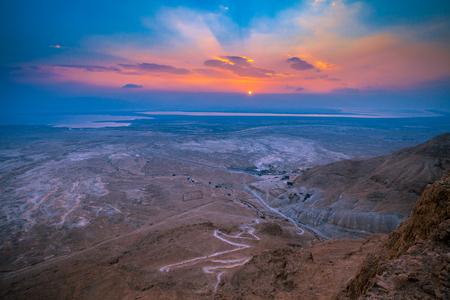 Beautiful sunrise over Masada