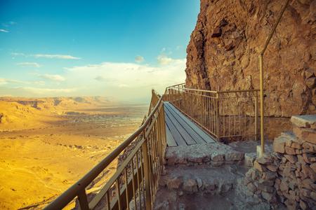Stairway at Masada fortress, Israel Stock Photo