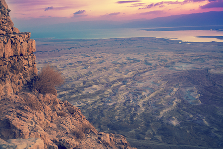 Aerial view from Masada. Sunrise in Judaean Desert