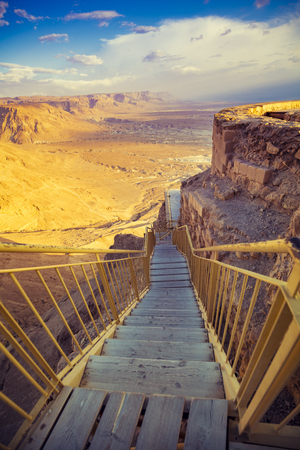 Wooden footpath around the mountain on Masada in Israel