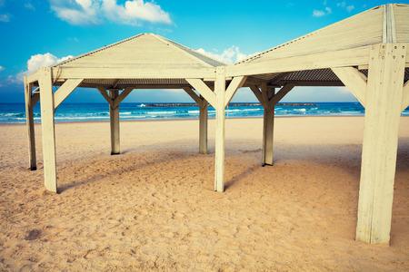 Wooden Awning On The Beach. Tel Aviv, Israel