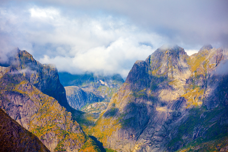 Mountain landscape. Gorge between the mountains. The beautiful nature of Norway