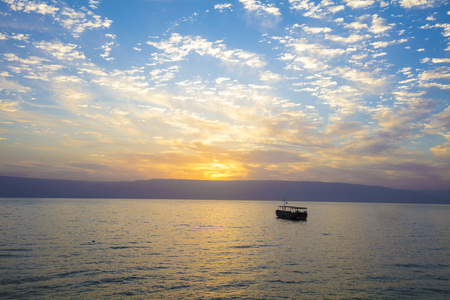 Beautiful Sea of Galilee in the morning. Sunrise over Kinneret 写真素材