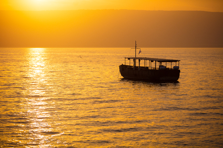 Beautiful Sea of Galilee in the morning. Golden sunrise over Kinneret Stock Photo