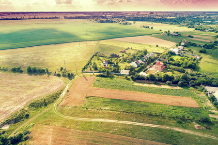 Aerial drone view of countryside, rural landscape with beautiful cloudy sky Stock fotó