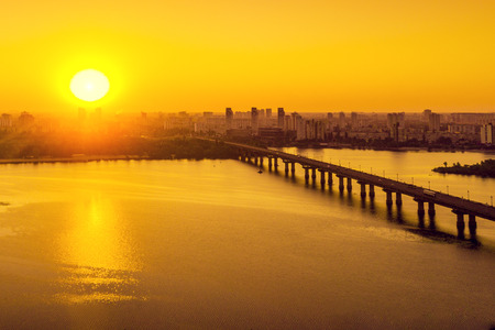 Skyline, the city of Kiev in the morning, Patona Bridge. The left bank of the Dnieper. Birds-eye