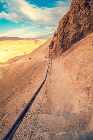 Pathway at Masada fortress, Israel. The ascent to Masada from the west side Archivio Fotografico