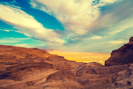 View from Masada at the valley in Judaean Desert in the early morning. Israel Standard-Bild - 108252201