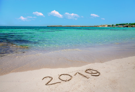 Inscription 2019 on the beach
