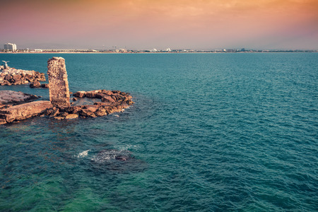 Remains of the Pisan Harbour in old city Akko. Israel Stock Photo