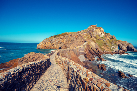 Bridge to island Gaztelugatxe, Bermeo, Basque Country, Spain, Europe