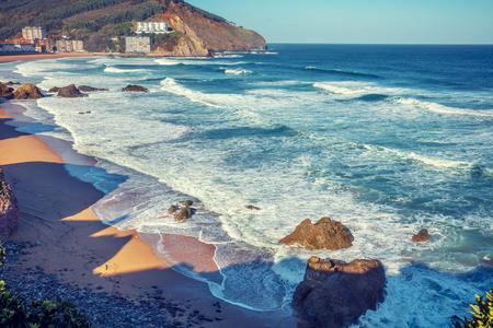 An ocean and beautiful bay. Playa de Bakio, Biscay, Basque Country, Spain, Europe