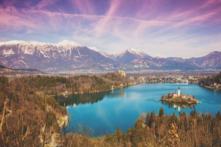 Bled Lake in early spring at sunrise. Slovenia, Europe