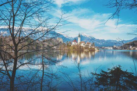 Bled Lake in early spring. Slovenia, Europe