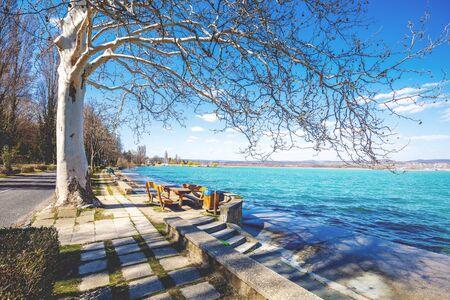 Balaton lake embankment, Tihany Peninsula, Hungary, Europe