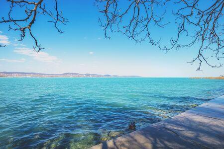 View of Balaton lake from Tihany Peninsula. Hungary