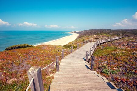 Paredes Panoramic Boardwalk. The beach on the Atlantic Ocean between Polvoeiro and Paredes, Portugal, Europe