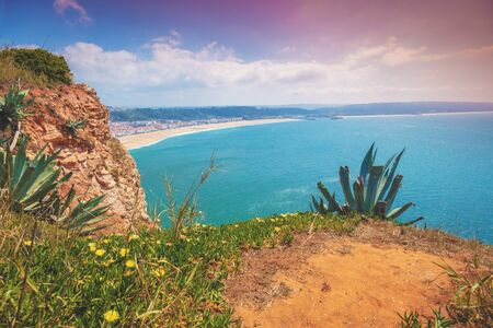 Atlantic ocean, beach in Nazare. View from mount of Nazare city, Portugal, Europe 写真素材