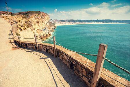 Atlantic ocean, embankment in Nazare, Portugal, Europe Zdjęcie Seryjne