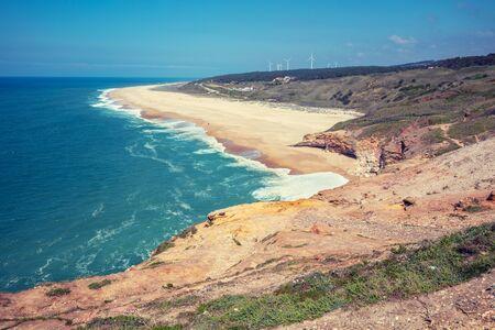 Atlantic ocean, beach in Nazare. Portugal, Europe