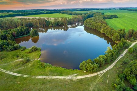 Picturesque summer landscape. Beautiful lake. Aerial view