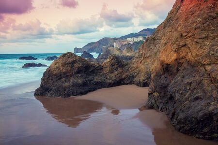 Rocky coast before sunrise. Bay of Biscay, Spain