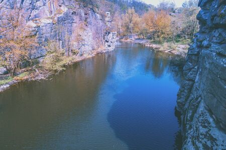Beautiful mountain river in a canyon with rocky shores Zdjęcie Seryjne