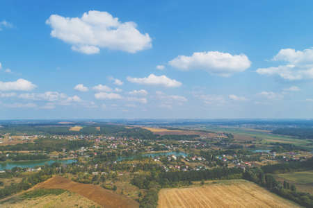 Rural landscape on a summer sunny day. Aerial view Imagens
