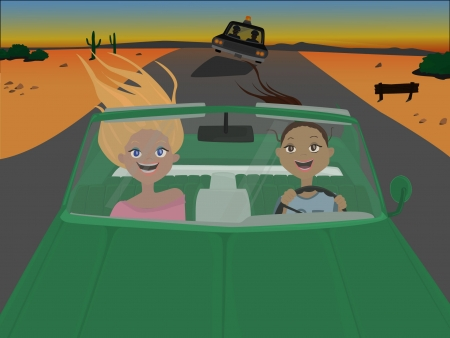 two women in cabrio car Vector