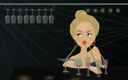 Beautiful blond woman in the bar drinking coctail Vector