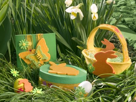 Easter basket in daffodils photo