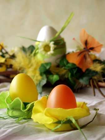 Easter eggs, table decoration, arrangement with butterfly at background Stock Photo - 370204