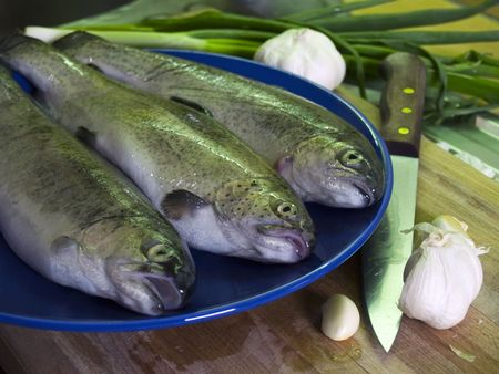 Three fresh trouts at blue plate, garlic and kitchen knife photo