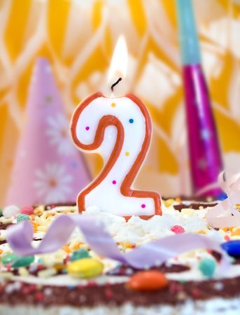 free photos: Candle number two at birthday cake