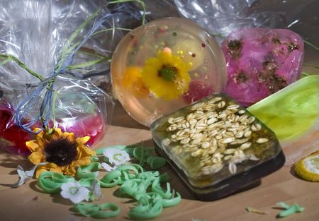 cellophane: Colorful soaps wraped at cellophane