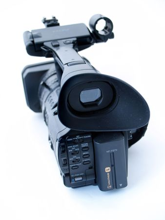 hi resolution: Professional  hi definition digital video camera, isolated at white background, back view