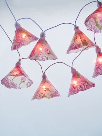 mini lights with roses motif hanging at blue background