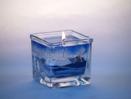 close up of gel candle with summer motif at the wax Stock Photo