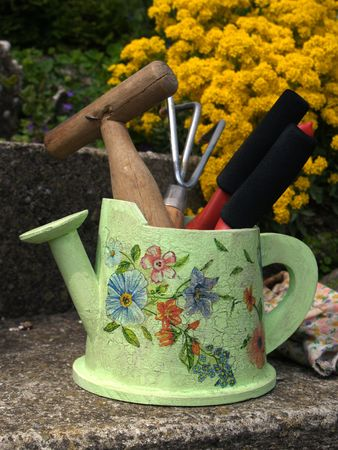 close up of flower bucket  fill with garden tools        Stock Photo