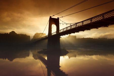 pedestrian bridge: morning bridge Stock Photo