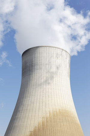 npp: big smokestack of nuclear factory with blue sky Stock Photo