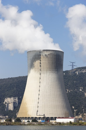 smokestack of nuclear plant and blue sky Stock Photo - 9678936